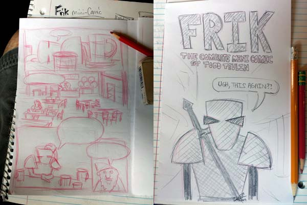 Sketches of upcoming Frik mini comic book